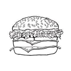Hamburger. Sketch. Vector illustration.