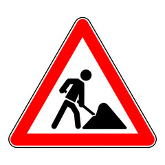 sign roadworks Symbol Baustelle