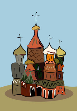 colored sketch of traditional russian church