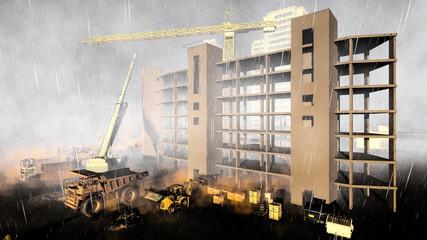 Construction site during rainstorm