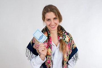 young girl with documents on white background
