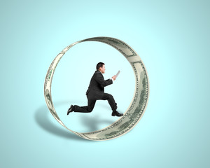Businessman using tablet running inside money circle in green