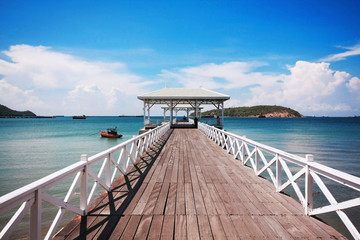 White wooden bridge at the Palace near the sea, Thailand