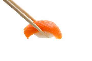 Spoed Foto op Canvas Sushi bar Isolated salmon sushi nigiri