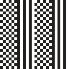 Black and white Chess Stripes  seamless Pattern