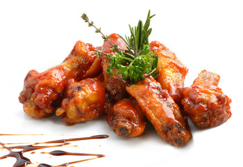 Chicken wings with barbeque sauce