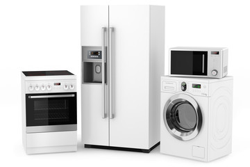 Group of household appliances on a white background