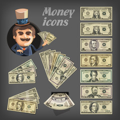 Money icons. Vector format