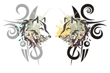 Tribal wolf heads