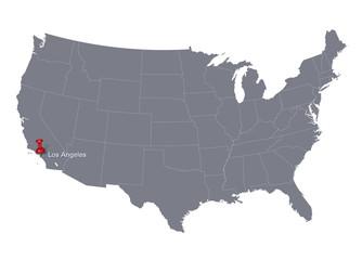 grey USA map and push pin pointing at Los Angeles