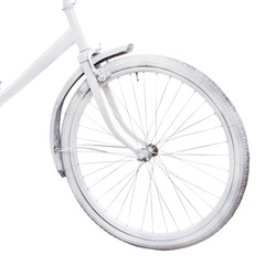 Bicycle wheel isolated on white backgroundю. Bike close-up