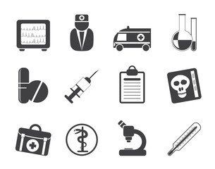 Silhouette Medical and healthcare Icons