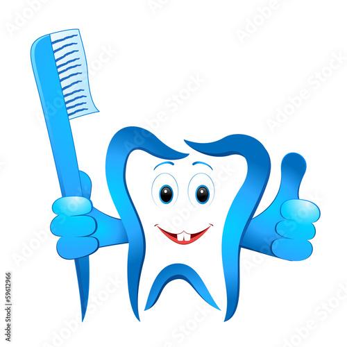 lustiger Zahn mit Zahnbürste\