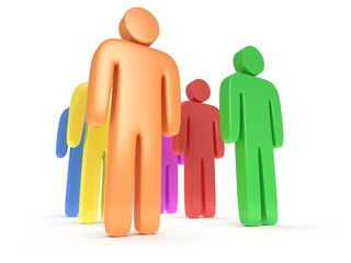 Group of stylized colored people stand on white