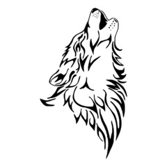 wolf howl head tattoo vector isolate