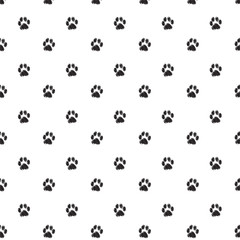 Traces of Cat Textile Pattern. Vector seamless