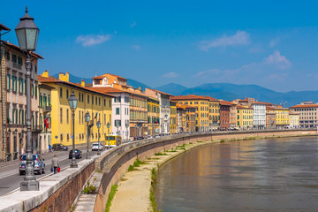 Old architecture and river Arno