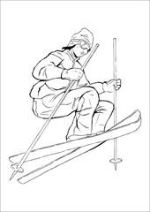 Vector sketch of a skier