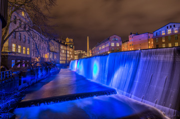Blue Christmas - illuminated industrial landscape of Norrkoping