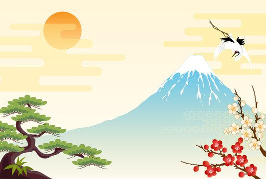 富士山と松竹梅と鶴