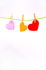 Two color hearts on the line