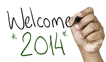 Welcome 2014 hand writing on a transparent board