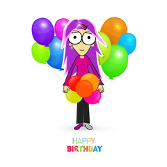Colorful Vector Happy Birthday Theme with Girl and Balloons