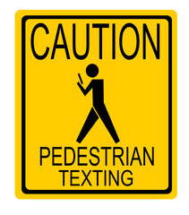 funny caution pedestrian texting street sign