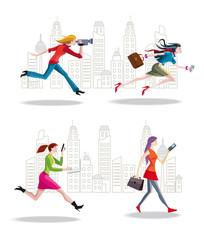 Entrepreneurs Women Running in the City