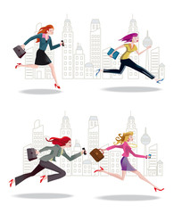 Businesswomen Running in the City2