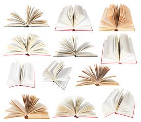 set from fan open books