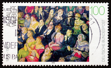 Postage stamp Germany 1993 Audience, by Andreas Paul Weber