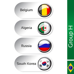 Vector flags, group H - Belgium, Algeria, Russia, South Korea