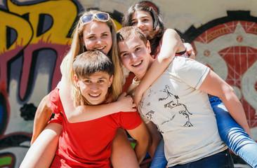 Happy teenage friends