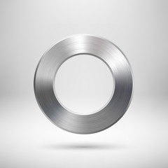 Fototapete - Abstract Circle Button with Metal Texture