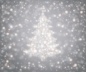 Christmas tree from snowflakes, falling snow and stars