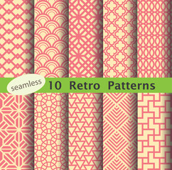 set of retro patterns for making seamless background