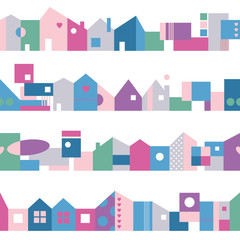 cute colorful houses pattern