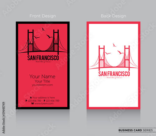 Modern Business Card Design With San Francisco Icon Stock Image And