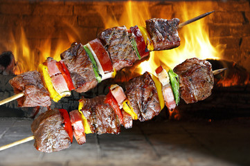 Poster Grill / Barbecue BBQ with kebab cooking