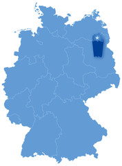 Map of Germany where Berlin is pulled out