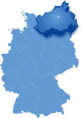 Map of Germany where Mecklenburg-Vorpommern is pulled out