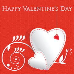 White paper heart Valentines day card