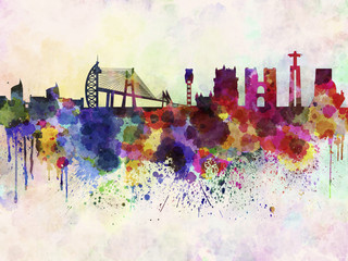 Wall Mural - Lisbon skyline in watercolor background
