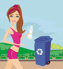 Girl recycling plastic bottles