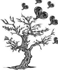 Tree with hearts on a white background in tattoo style