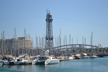 Sailboats in the port of Barcelona