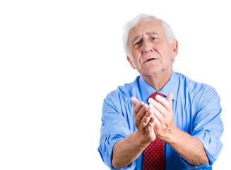 Old sad, stressed man asking for help, forgiveness