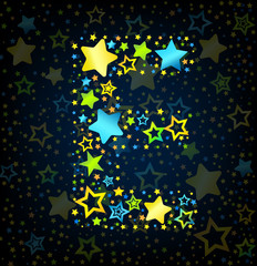 Letter E cartoon star colored