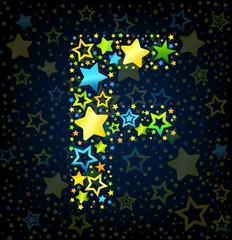 Letter F cartoon star colored